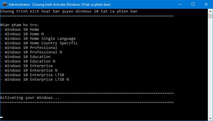 Active Windows 10 mọi phiên bản không cần phần mềm crack